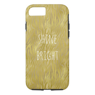 Gold Glam Zebra Print Stripes Shine Bright iPhone 8/7 Case
