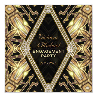 Gold Glamour Art Deco Engagement Party Invitation