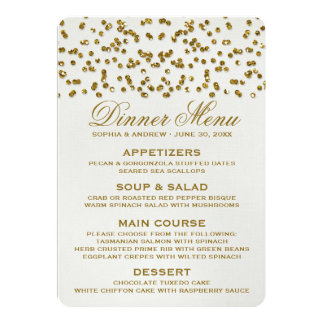 "Gold Glamour Glitter Confetti Wedding Menu 5"" X 7"" Invitation Card"