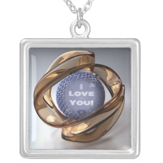 """Gold Glass: """"I love You"""" in silver plated Necklace"""
