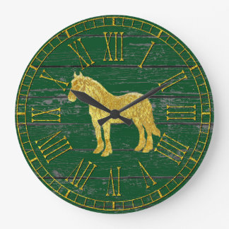 Gold Glass Look Horse Your Color Weathered Wood Large Clock