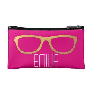 Gold Glasses Cosmetics Bags