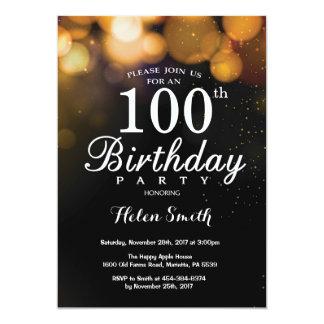 Gold Glitter 100th Birthday Invitation Card