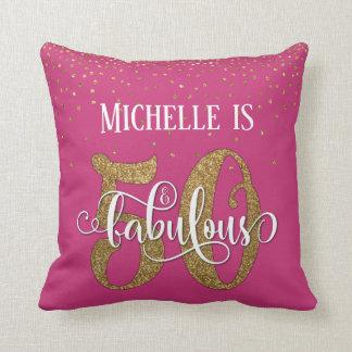 Gold Glitter 50 & Fabulous Birthday on Hot Pink Throw Pillow