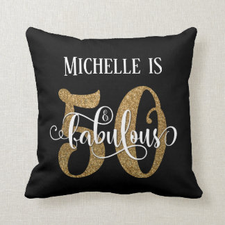 Gold Glitter 50 & Fabulous Birthday over Black Throw Pillow