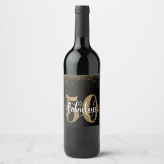 Gold Glitter 50 & Fabulous on Black Typography Wine Label