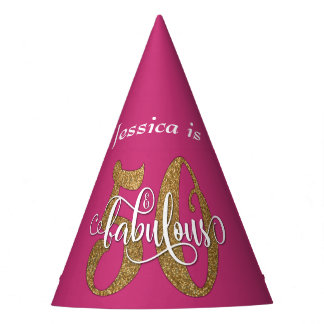 Gold Glitter 50 & Fabulous Typography on Hot Pink Party Hat