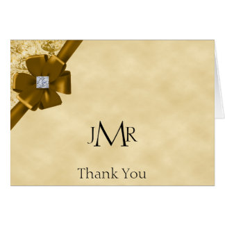 Gold Glitter 50th Anniversary Thank You Note Card