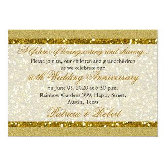 Gold Glitter 50th Golden Wedding Anniversary Card
