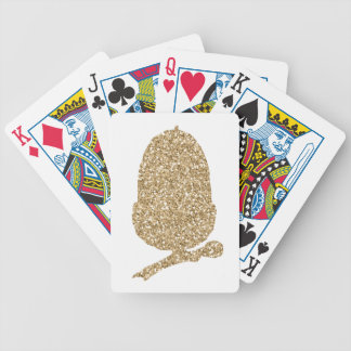Gold Glitter Acorn Bicycle Playing Cards