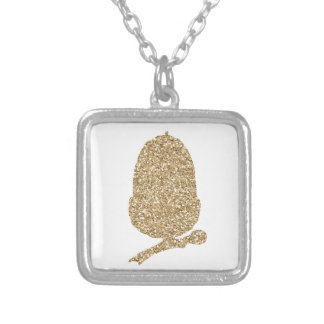Gold Glitter Acorn Silver Plated Necklace