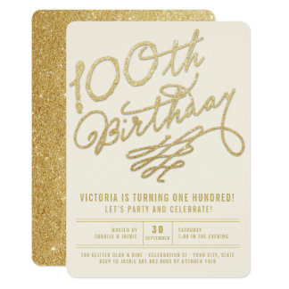 Gold Glitter Adult 100th Birthday Party Invite