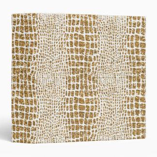 Gold Glitter Alligator Print 3 Ring Binders