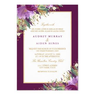 Gold Glitter Amethyst Purple Floral Wedding Card