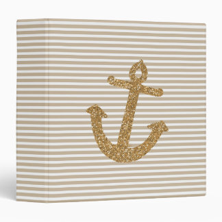 Gold Glitter Anchor 3 Ring Binder