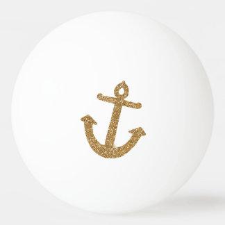 Gold Glitter Anchor Ping Pong Ball