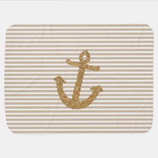 Gold Glitter Anchor Receiving Blanket