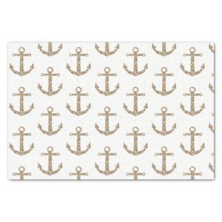Gold Glitter Anchors Nautical Glam Elegant Modern Tissue Paper