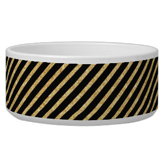 Gold Glitter and Black Diagonal Stripes Pattern