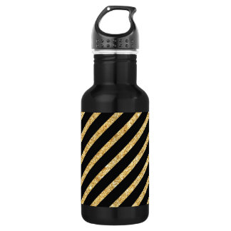 Gold Glitter and Black Diagonal Stripes Pattern 532 Ml Water Bottle