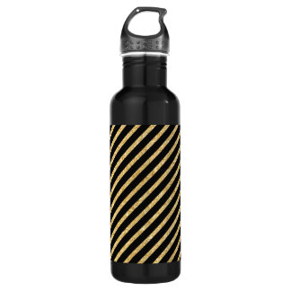 Gold Glitter and Black Diagonal Stripes Pattern 710 Ml Water Bottle