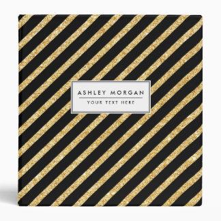 Gold Glitter and Black Diagonal Stripes Pattern Binders