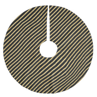 Gold Glitter and Black Diagonal Stripes Pattern Brushed Polyester Tree Skirt