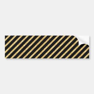 Gold Glitter and Black Diagonal Stripes Pattern Bumper Sticker