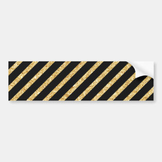 Gold Glitter and Black Diagonal Stripes Pattern Bumper Sticker