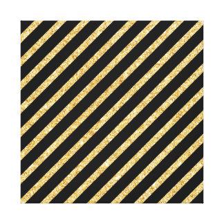 Gold Glitter and Black Diagonal Stripes Pattern Canvas Print