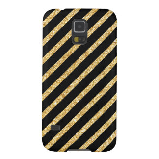 Gold Glitter and Black Diagonal Stripes Pattern Case For Galaxy S5