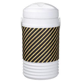 Gold Glitter and Black Diagonal Stripes Pattern Cooler
