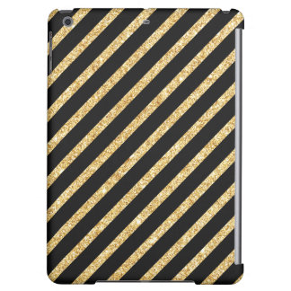 Gold Glitter and Black Diagonal Stripes Pattern Cover For iPad Air