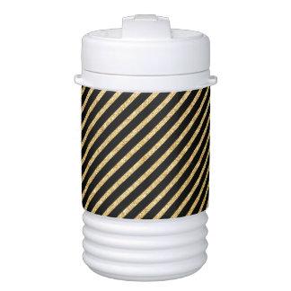 Gold Glitter and Black Diagonal Stripes Pattern Drinks Cooler