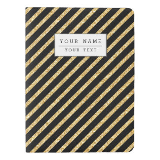 Gold Glitter and Black Diagonal Stripes Pattern Extra Large Moleskine Notebook