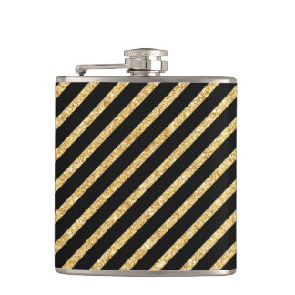 Gold Glitter and Black Diagonal Stripes Pattern Hip Flask