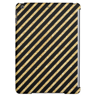 Gold Glitter and Black Diagonal Stripes Pattern iPad Air Cases