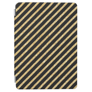 Gold Glitter and Black Diagonal Stripes Pattern iPad Air Cover