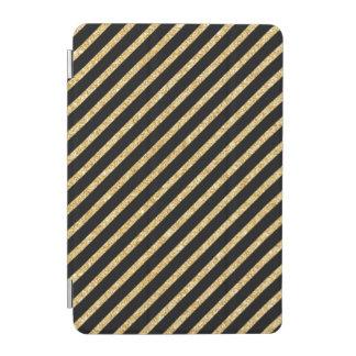 Gold Glitter and Black Diagonal Stripes Pattern iPad Mini Cover