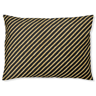 Gold Glitter and Black Diagonal Stripes Pattern Large Dog Bed