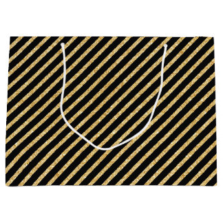Gold Glitter and Black Diagonal Stripes Pattern Large Gift Bag