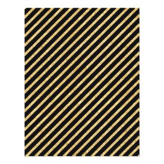 Gold Glitter and Black Diagonal Stripes Pattern Letterhead