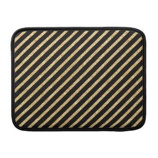 Gold Glitter and Black Diagonal Stripes Pattern MacBook Air Sleeves