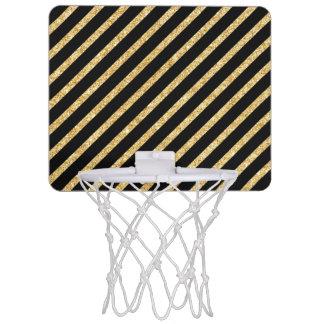 Gold Glitter and Black Diagonal Stripes Pattern Mini Basketball Hoop