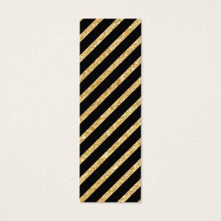 Gold Glitter and Black Diagonal Stripes Pattern Mini Business Card