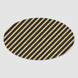 Gold Glitter and Black Diagonal Stripes Pattern Oval Sticker