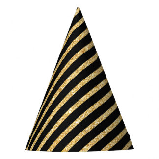 Gold Glitter and Black Diagonal Stripes Pattern Party Hat
