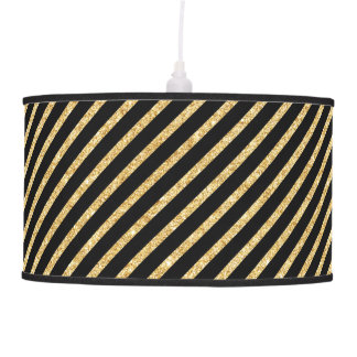 Gold Glitter and Black Diagonal Stripes Pattern Pendant Lamp
