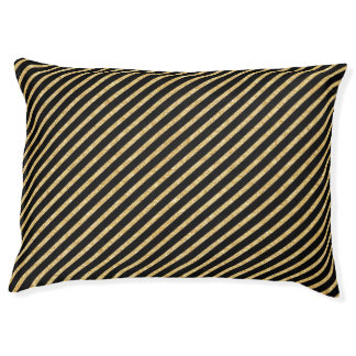 Gold Glitter and Black Diagonal Stripes Pattern Pet Bed
