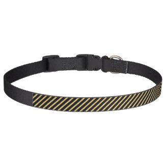 Gold Glitter and Black Diagonal Stripes Pattern Pet Collar